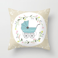 Vintage baby Throw Pillow by Babiole Design