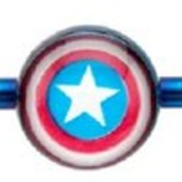 """316l Surgical Steel, Captain Americca Industrial Bar Barbell 1 1/2"""" Jewelry Sold Individually"""