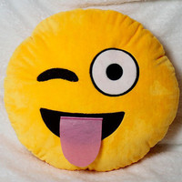 Wacky Yellow Emoji Pillow