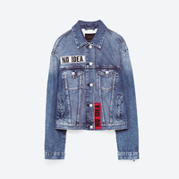 DENIM JACKET WITH PATCHES DETAILS