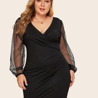 Plus Size Size Black Surplice Contrast Mesh Bishop Dotted Sleeve Dress