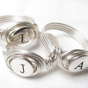 Set of 3-10 Monogram Bridesmaid Gift, Personalized Bridesmaid Jewelry, Bridesmaid Rings, Best Friend Rings, Sister Rings, Bridal Party Gifts