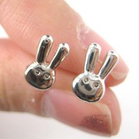 Small Rabbit Bunny Animal Stud Earrings in Silver from Dotoly Plus