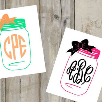 Mason Jar Monogram Decal - Custom Decal - Southern - Heart - Yeti Decal - Car Decal - Any Size - Any Color - Glitter - Custom Sticker -Vinyl