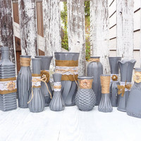Burlap and Lace, Grey RUSTIC, SHABBY CHIC Vase set of 12