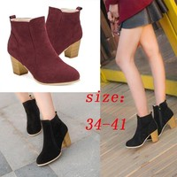 New matte rough with side zip Martin boots [120847138841]