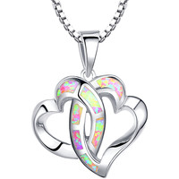 Sterling Silver Linked Hearts W. Pink Fire Opal Pendant Necklace