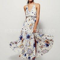 Ankle Prom Dress Sexy  Free People V-neck Backless Print One Piece Dress [8669103559]