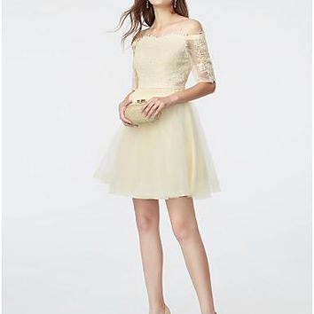 A-Line Off Shoulder Short / Mini Lace / Tulle See Through Cocktail Party Dress with Appliques / Sash / Ribbon by TS Couture® / Illusion Sleeve