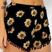 Floral sunflower Print Trimmed Shorts Shorts Casual Short Pants women