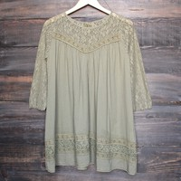 sheer boho tunic with lace detailing - army green