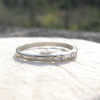 Sweet 1930's Wedding Band, Sparkly Diamonds and Flower Blossoms, Art Deco Ring O' Romance in White Gold