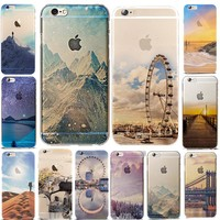 Landscape Scenery Case For iphone 6 6S Cover town Beach Nature View Soft TPU Case for iphone 6S 6 S i6 Phone Coque 4.7 inch