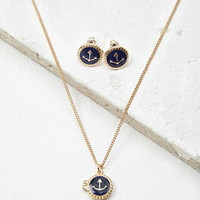 Anchor Necklace and Earring Set