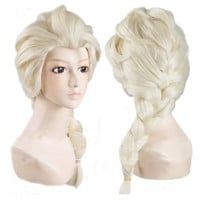 Elsa Adult Princess Salon Quality Costume Wig with Jeweled Snowflake Hair Pins