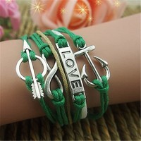Infinity Anchor Arrow and Hope Charms 5 Layers Green Handmade MultiLayered Bracelet BDP0529