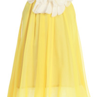 Girls Yellow Chiffon Shift Dress w. Ivory Petal Trim 2T-14