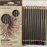 Peroci Graphite Earth Tones 12 colour water soluble Drawing Colour Pencils Sketch Drawing Art Supplies
