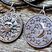 Zodiac Double Sided Astrology Signs Sun Moon Stars Necklace