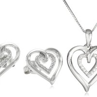 Sterling Silver and Diamond Heart Pendant Necklace and Earrings Box Set (0.02 cttw)