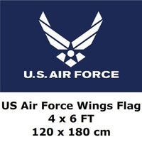 US Air Force Wings Flag 4` x 6` FT 100D Polyester Black Large American United States USA US Military Army Flags and Banners