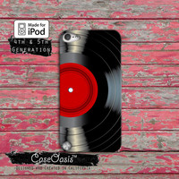 Vintage Vinyl Record Red Label Music Classic Cool Case iPod Touch 4th Generation or iPod Touch 5th Generation or iPod Touch 6th Gen Rubber