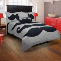 Le Moustache Gray Twin Size Kids Comforter Bed Set