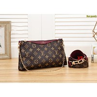 LV Louis Vuitton Fashion Women Shopping Leather Shoulder Bag Handbag Crossbody Satchel Burgundy