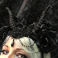 Custom Handmade hat with hand molded small horns roses lace feathers and decorations big hat