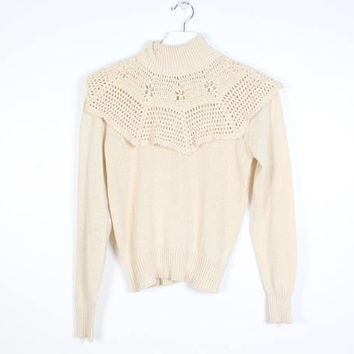 Vintage 1970s Sweater Crochet Knit Open Weave Doily Collar High Neck Turtleneck 70s Sweater Hippie Sweater Beige Tan Jumper Boho XS S Small