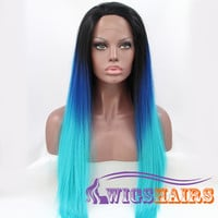 """24"""" Long Straight without Bangs Synthetic Wigs for Women Lace Front Wigs Colorful"""