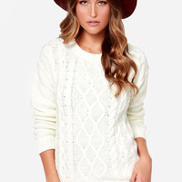 Obey Heith Cream Cable Knit Sweater