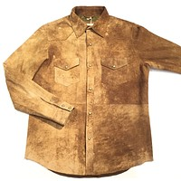 "Ryan Michael Jungle Suede Button-Up Shirt ""A1456MW"""