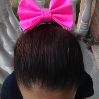 Neon Pink Bow, Pink Hair Tie, Pink Pony Tail Holder