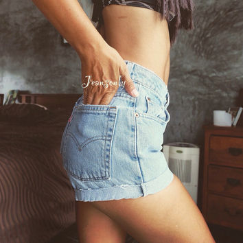 High waisted shorts Plain Levis Roll up Cuff denim Hipster 90s Grunge clothing