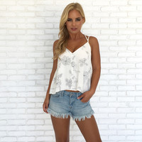 Fresh Embroider Floral Button Up Top