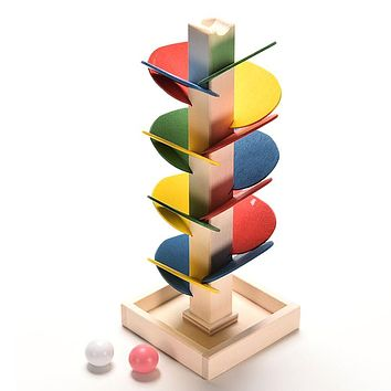 Building Blocks Tree Marble Ball Run Track Game Baby Educational Wooden Intelligence Stuffed Toys For Children Birthday Gift