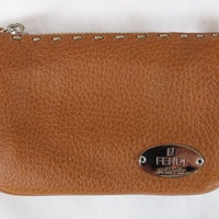 """~~~ THAT FAMOUS LEATHER! ~~~ FENDI CARAMEL """"SELLERIA LEATHER"""" WALLET/POUCH ~~~"""