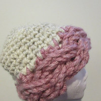 Super Chunky braided rim winter skull cap in Pink and Wheat