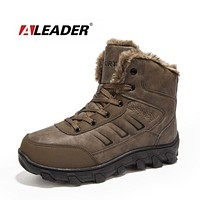 Winter Work Boots Men Casual Outdoor Snow Boots Waterproof Leather Warm Shoes  Safety Shoes For Men Fur
