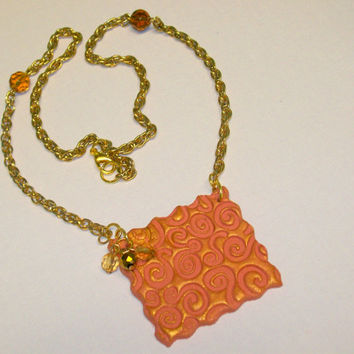 Gold Swirl Essential Oil Diffuser Necklace Handmade Aromatherapy Pendant with Gold Chain, Amber Beads, OOAK Perfume Diffuser Gift for Her