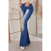 Two Sides To Every Story High Rise Flares (Medium Wash)