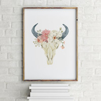 Skull Bull Typographic print Floral Skull Inspirational poster Room poster Wall artwork Instant download Printable poster Skull art
