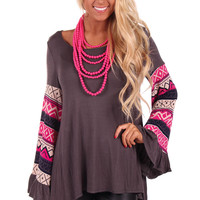 Grey Tunic Top with Neon Pink Patterned Flare Sleeve