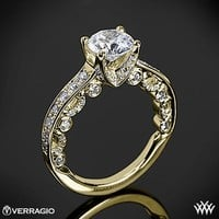 18k Yellow Gold Verragio 4 Prong Channel Bead-Set Diamond Engagement Ring