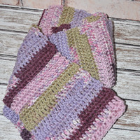 Scarf Lilac, Plum, Moss Green, and White