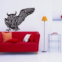 Owl Bird Animal Wings Flying Vinyl Decals Wall Art Sticker Home Modern Stylish Interior Decor for Any Room Smooth and Flat Surfaces Housewares Murals Design Graphic Bedroom Living Room (4245)