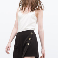 Black Gold Button Wrapped Shorts With Pocket