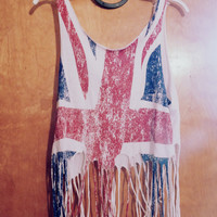 British Flag Fringe Crop Top