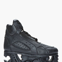 Ktz Black Leather Carved Sole Platform Sneakers for women | SSENSE